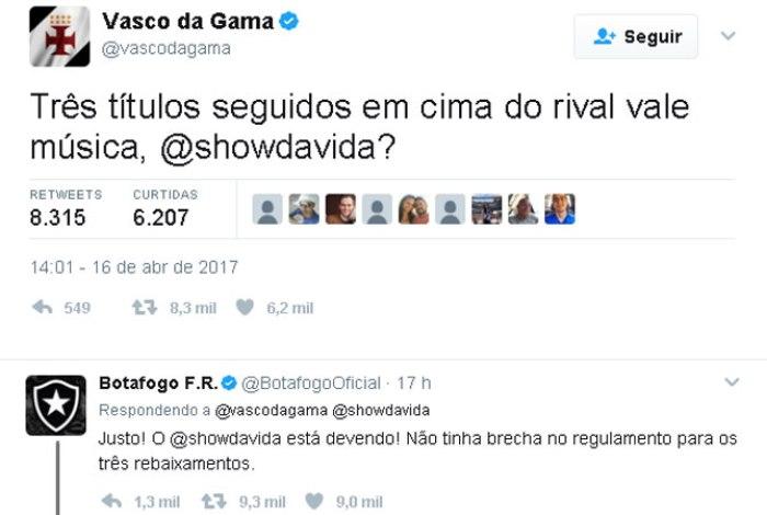 Vasco e Botafogo se provocam no Twitter e Flamengo pede calma ... 7f4b3d09fbe07