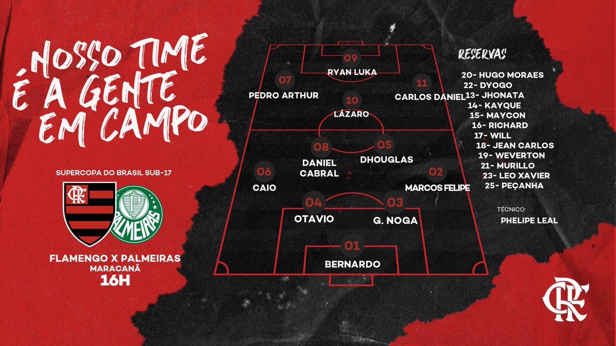 Confira a escalação do Flamengo para encarar o Palmeiras na final