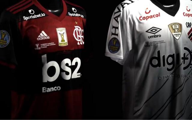 CBF divulga camisas que serão usadas por Flamengo e Athletico com o Patch especial da Supercopa do Brasil
