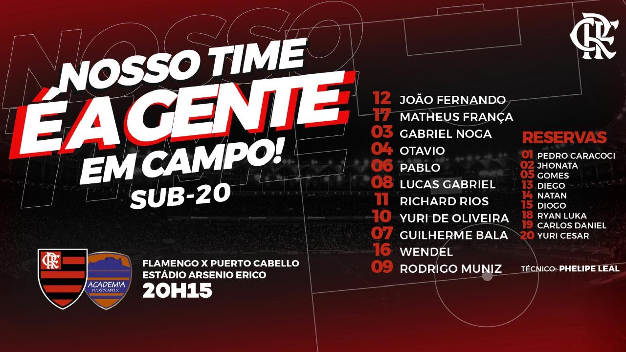 Confira a escalação do Flamengo para encarar o Puerto Cabello (VEN), pela Libertadores Sub-20