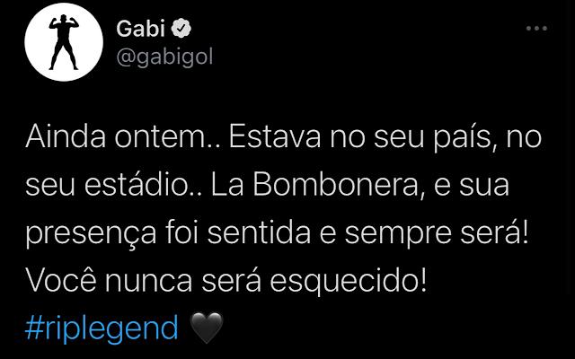 Gabigol faz publicação em homenagem a Diego Maradona