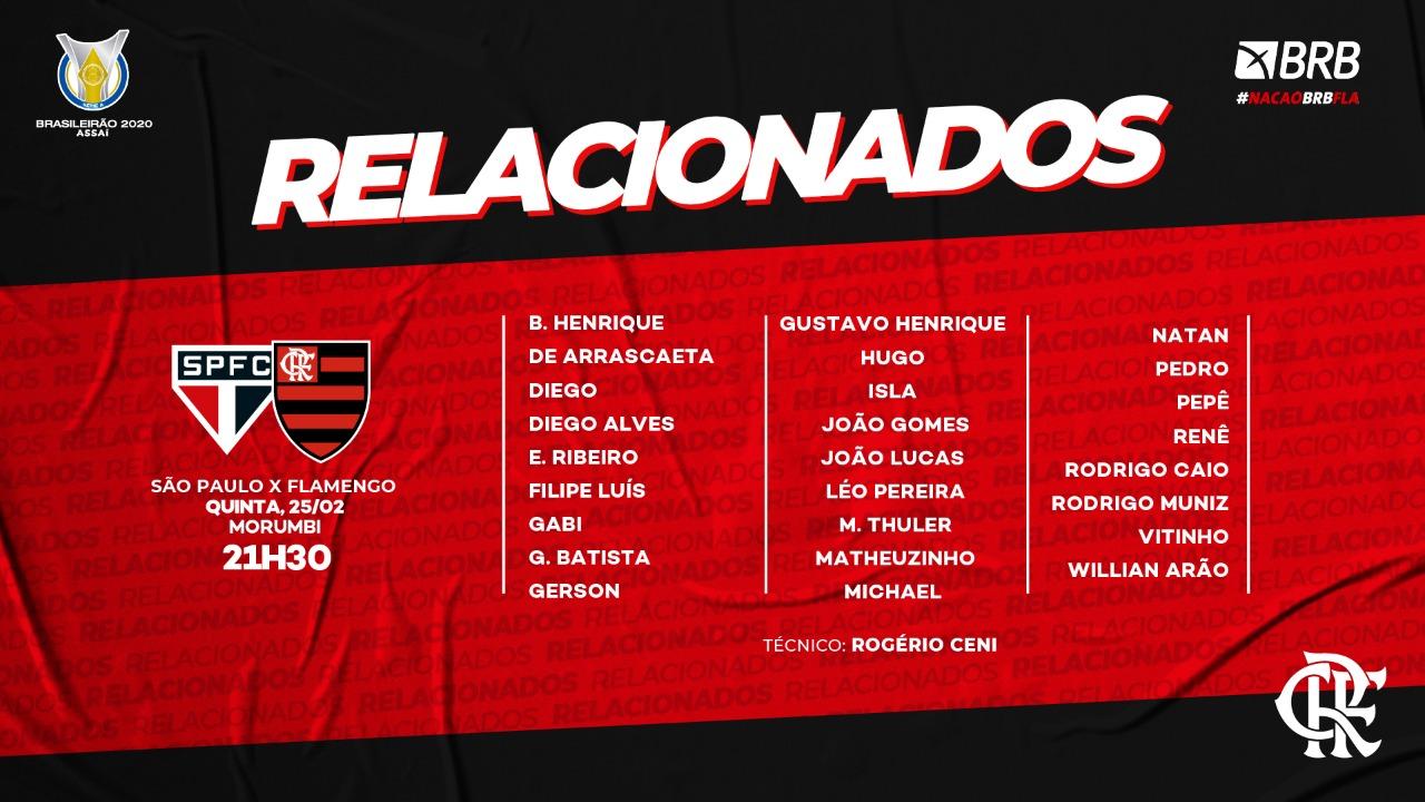 Flamengo divulga relacionados para decisão do Brasileirão, contra o São Paulo