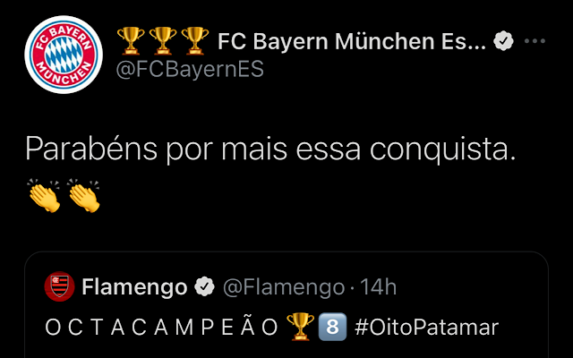 Bayern de Munique parabeniza Flamengo por t�tulo do Campeonato Brasileiro